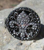Wholesale Lot 12 Fashion Ring Fleur De Lis Poison Secret Hinge Cz Cocktail Glam