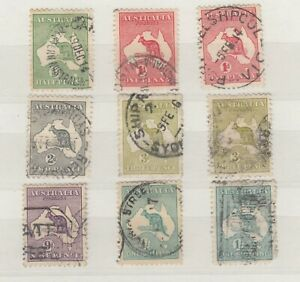 Australia-1913-Roo-Collection-Of-9-1-SG11a-Fine-Used-JK624