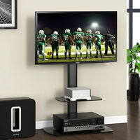 Fitueyes Tv Floor Stand With Adjustable Mount Component Shelves For 32-50rca Tv