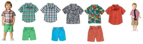 Gymboree boys colored Jean Shorts /& Checked//Print Shirts 6 12 18 24 2T 3T