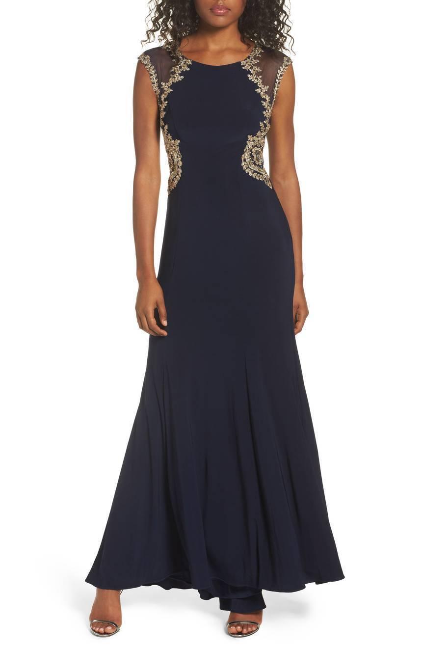 NWT Xscape Navy Blau Embellished Jersey Gown Dress [ SZ 4 ]  e310