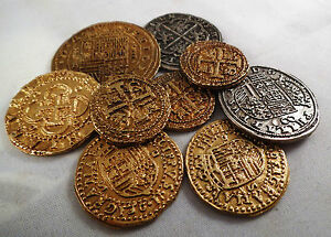 Job Lot Mixed Spanish Armada Gold/Silver Doubloons - Coins/Pirates/<wbr/>Treasure/Gift