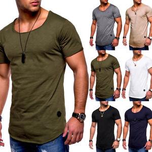 Men-039-s-Slim-Fit-O-Neck-Short-Sleeve-Plain-Muscle-Shirt-T-shirt-Casual-Tops-Blouse