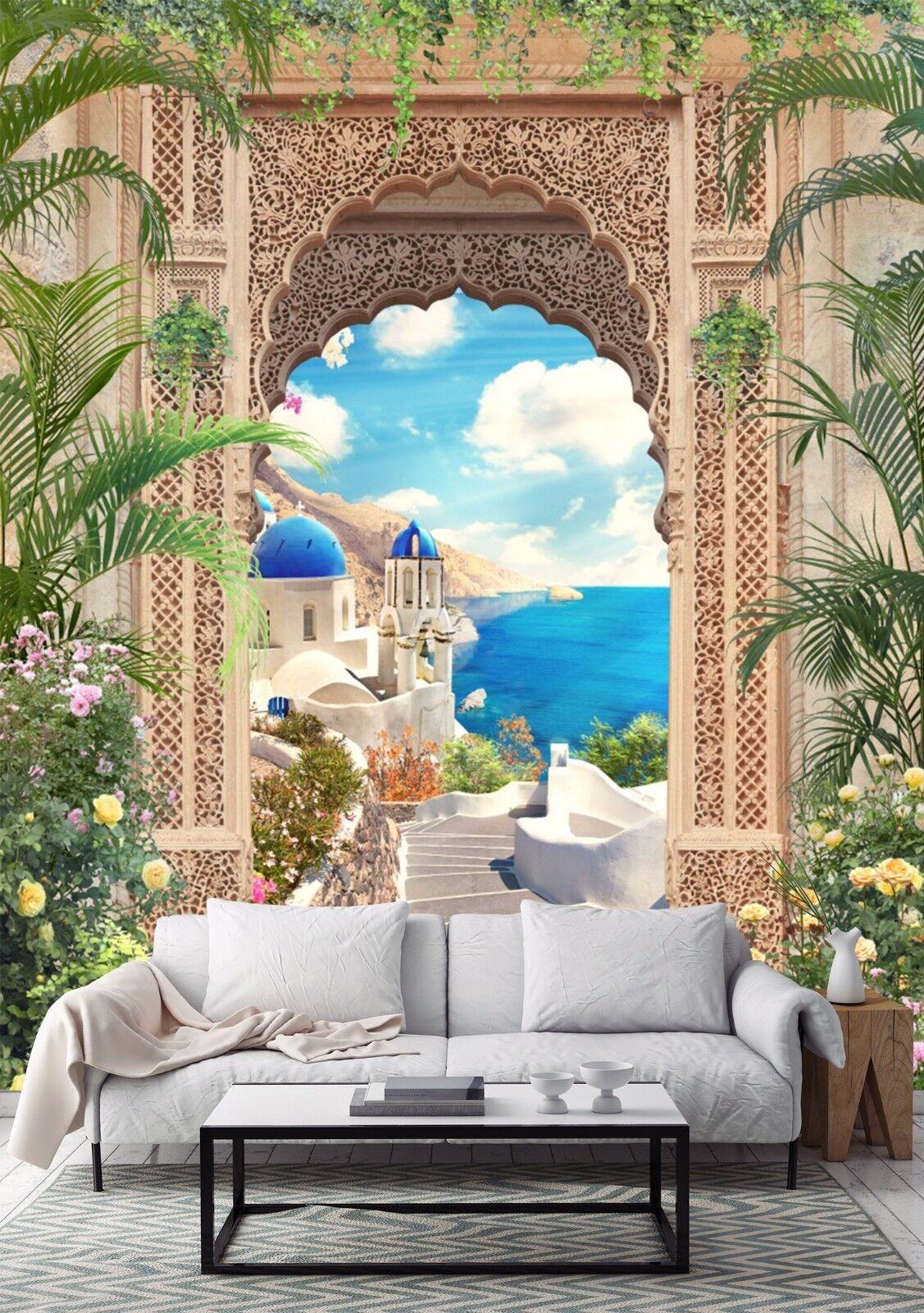 3D Aegean Sea Blau tree Wall Paper wall Print Decal Wall Deco Indoor wall Mural