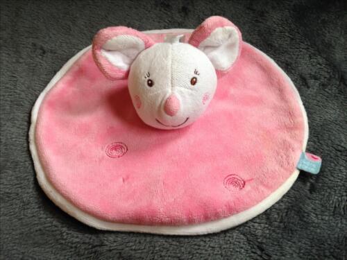 Doudou plat rond souris rose blanc spirale 32 SUCRE D/'ORGE Comme neuf