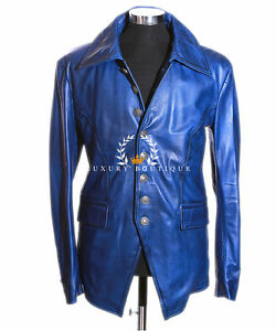 b0539aab7 Details about Lucifer Dark Blue Men's Gothic Styled Smart Sheep Leather  Blazer Shirt Jacket