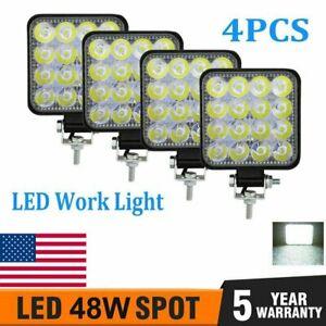 48W 16 LED Work Light Bar Beam Flood Spot Lights Lamp Offroad Car Truck SUV