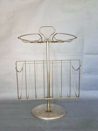 "MID CENTURY MODERN WIRE MAGAZINE RACK VINTAGE industrial look 27"" tall"