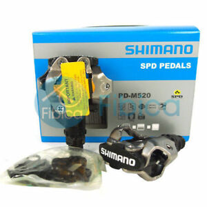 New-Shimano-PD-M520-L-SPD-Mountain-MTB-Bike-Clipless-Pedals-with-Cleats-SM-PD22