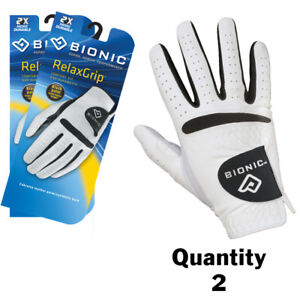 2-x-Bionic-Mens-RelaxGrip-Golf-Gloves-Right-Hand-Cool-Dry-Leather-Palm-23-50-ea