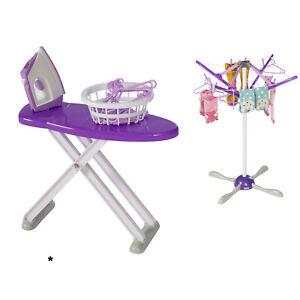 Kinder-Buegelbrett-Buegeleisen-Haushaltsgeraet-Waeschestaender-Puppen-Spielzeug-Set
