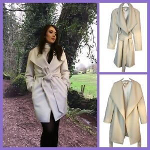 QUALITY-HANDMADE-SOFT-WOOL-WHITE-WRAP-OVER-COAT-FULLY-LINED-SIZE-M-10-12-14