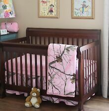 Camo Crib Bedding Pink 3pc Real Tree Ap Baby Comforter Sheet Skirt Nursery