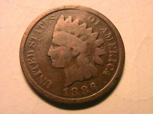 1886-T2-Indian-Head-Cent-Nice-Good-G-Original-Brown-USA-1-Small-Penny-Coin