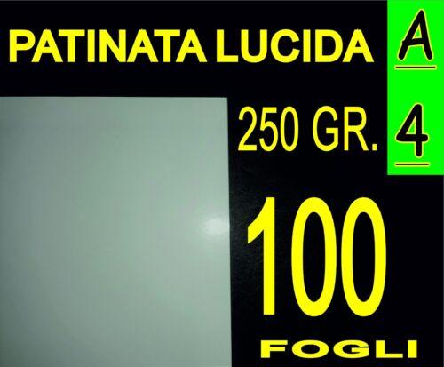 100 FOGLI A4 CARTA PATINATA LUCIDA X STAMPANTI LASER IDEALE X FOTO 250 GR