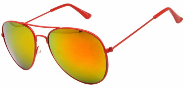 COLORED RED MIRROR LENS AVIATOR STYLE METAL SUNGLASSES RED FRAME 99% UVB UVA