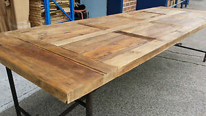 NEW-FRENCH-INDUSTRIAL-RECYCLED-VINTAGE-RUSTIC-TIMBER-TRESTLE-DINING-TABLE-2M