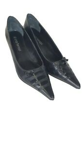 Diana-Ferrari-Pointed-Toe-Business-low-High-Heels-Size-8-5-Leather-shoes