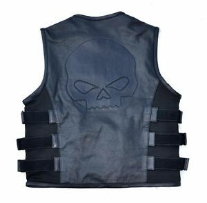 Gilet-veste-jacket-en-Cuir-style-Pare-Balle-Swatt-Tete-de-Mort-SKULL-biker-SOA