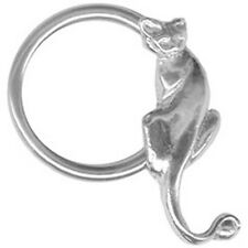 "Captive Nipple Ear Ring 14 Gauge 1/2"" w/Kitty Cat Steel Body Jewelry"