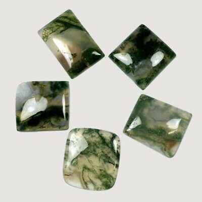quality 4 Pieces Green Moss Agate Cabochons Lot 15 to 18 Oval Shape Natural Agate Gemstones Cabs Loose Stones AAA