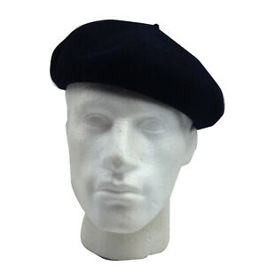 Super Basque French BERET 100% Wool MADE IN FRANCE British Hat Cap - Navy Blue