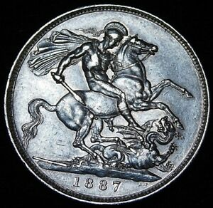 1887-GREAT-BRITAIN-CROWN-QUEEN-VICTORIA-SILVER-DRAGON-COIN-A32-173
