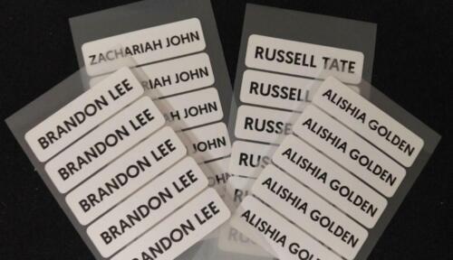 50 School Name Waterproof Personalised Labels Stickers  PROPERTY TAG UK