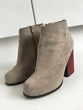 Jeffrey Campbell Beige Suede Leather Red Heel Chunky Ankle Boots 4 37