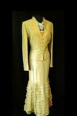 PRESEN Size 16 18 Gold Silk Ladies Designer Wedding Outfit Skirt Top & Jacket