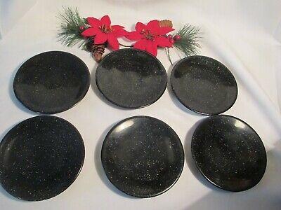 100% Vero Dessert Piatto In Colore Nero - 6-pezzo-mostra Il Titolo Originale