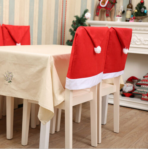 UK stock 2pc Santa Claus red Xmas Hat for Chair Covers Decor for Christmas Party