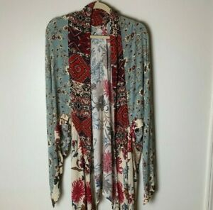 Umgee-USA-Women-039-s-Open-Kimono-Top-Size-Medium-Large-Floral-Boho-Festival
