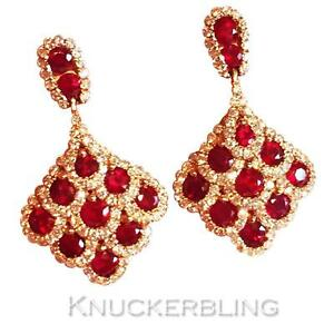 2-20ct-Ruby-and-Diamond-Drop-Earrings-in-18ct-Rose-Gold-for-Pierced-Ears