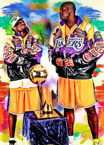 2021 Kobe Bryant & Shaquille O'Neal Lakers 1/25 Art ACEO Print Card By:Q