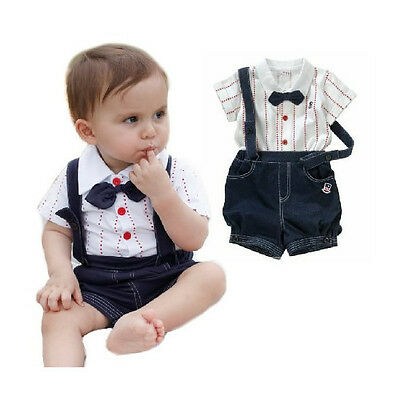 2pcs Kid Baby Boy Top T-shirt+Overalls Pants Shorts Set Outfit Clothes Bow Tie