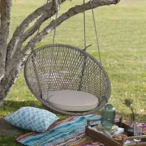 Image Is Loading Tan Cushion Resin Wicker Hanging Round Swing Chair
