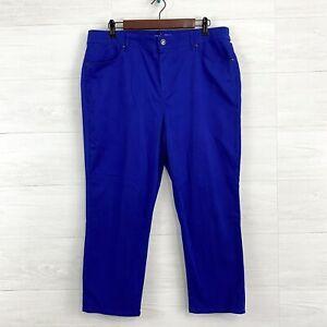 Chicos SZ 2.5 US 14 Royal Blue Soft Chino High Waist Crop Length Trouser Pants