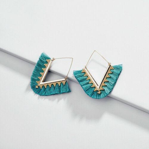 Fashion Femmes V shape Frange Tassel Enfileur or oreille fils coton Boucles d/'oreilles Créoles