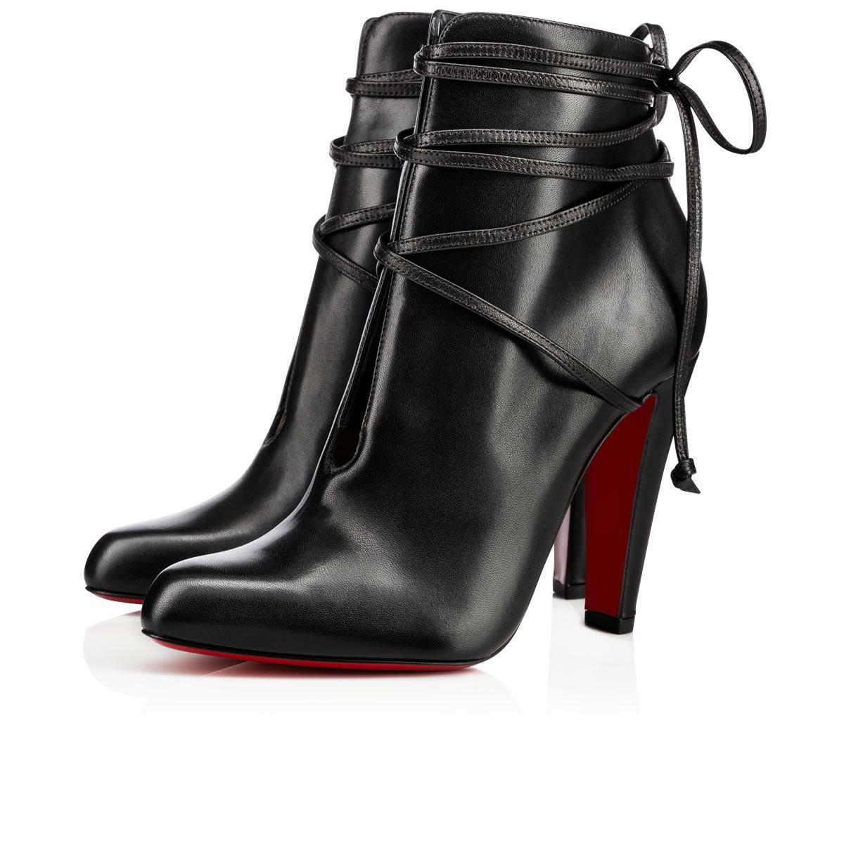NIB Christian Louboutin S.I.T. Rain 100 Black Nappa Leather Ankle Heel Bootie 35