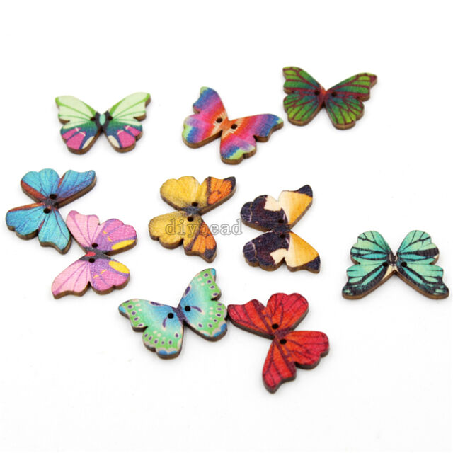 500x Popular  Multi-Color Butterfly Wooden Sewing Flatback Button Fit Craft  D