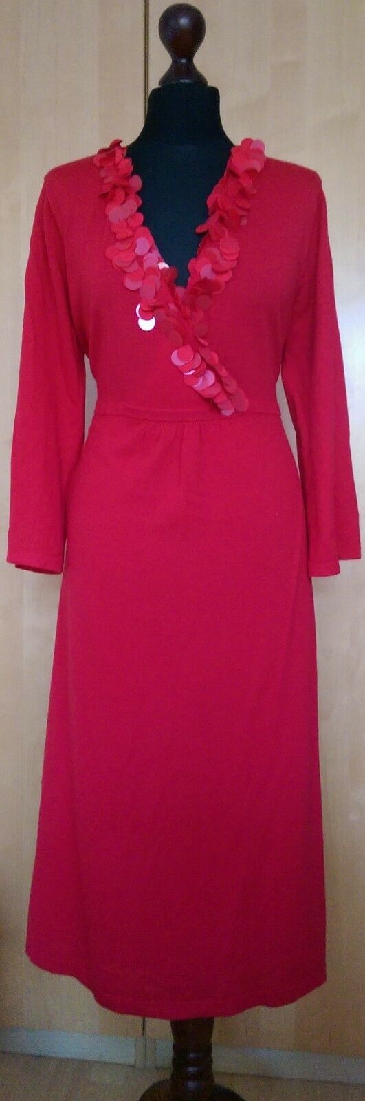 BNWT Boden Red Dress Khitted Embellished  100% Wool Size 18L UK