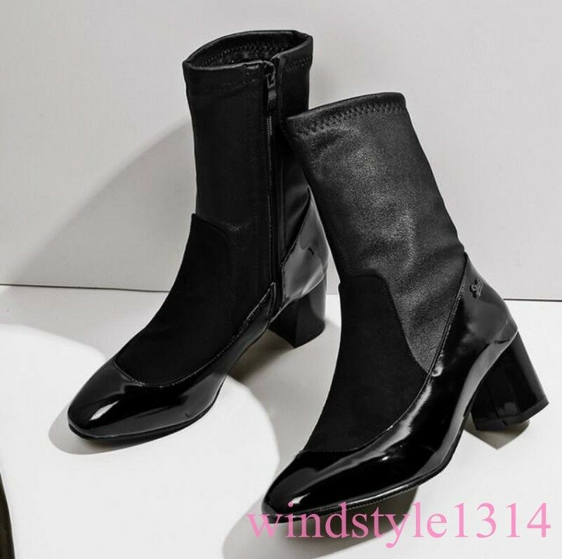 European Womens Sock Boot Square Toe Block Heel Side Zip Zip Zip Clubwear Winter shoes a58063