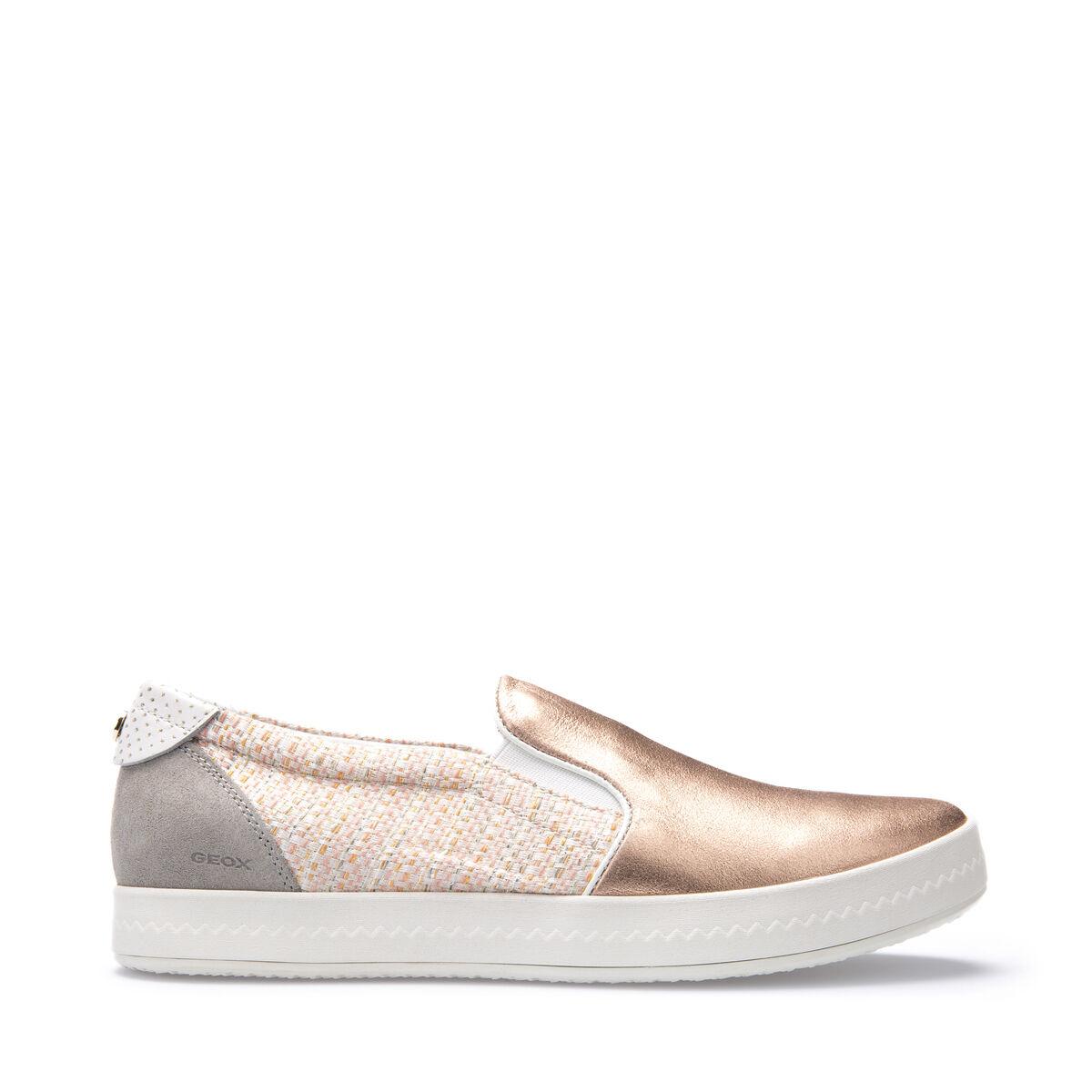 GEOX zapatos mujer zapatillas SLIP-ON IN PELLE PELLE PELLE E TELA rosadooro LINEA MODESTY D4429C  promociones de descuento