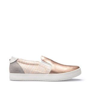 Détails sur Geox Chaussures Femme Baskets Slip On en Cuir et Toile Rosegold Ligne Modestie