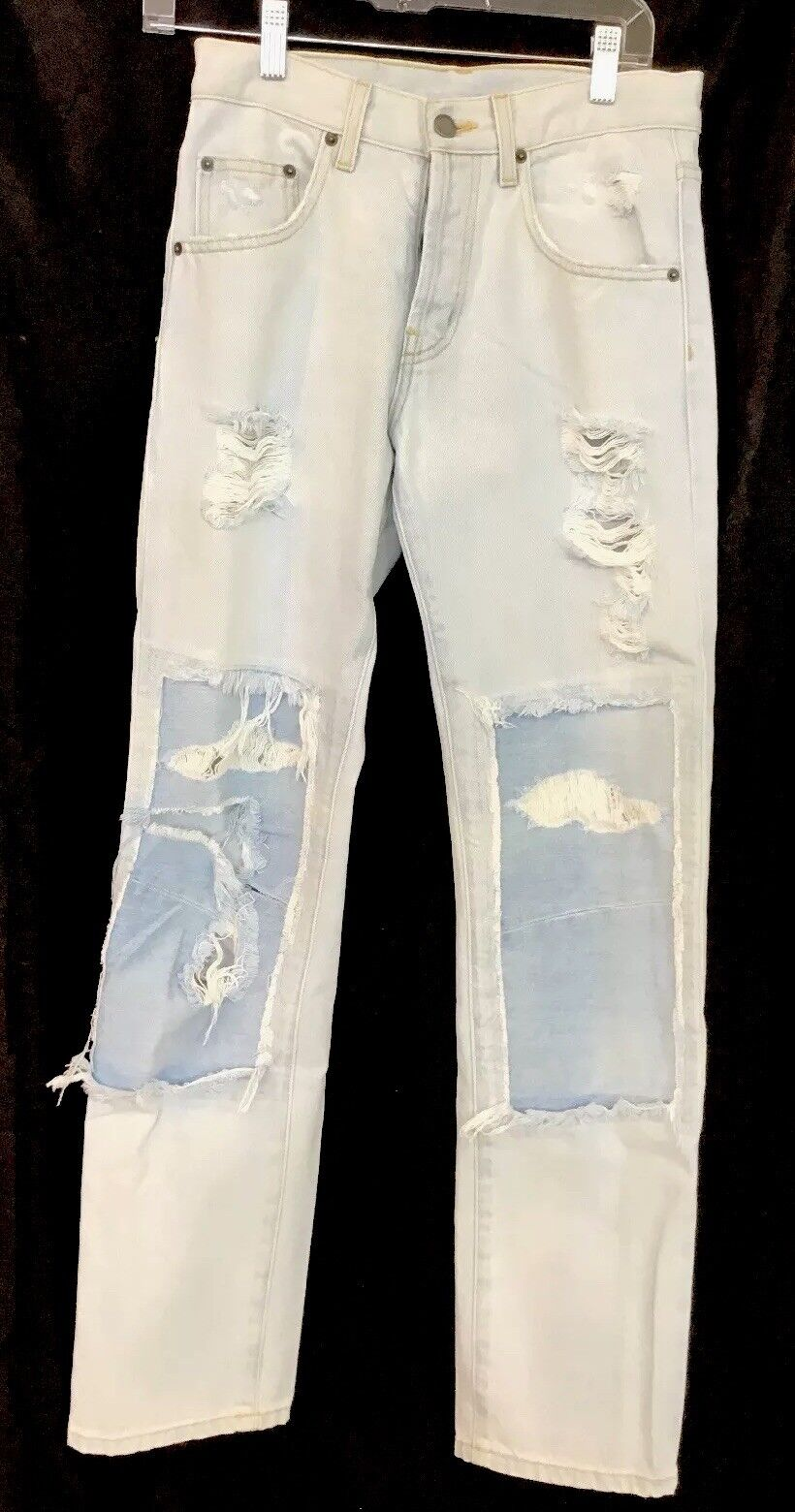Car Mar Jean Light bluee Holes And Patch Size 24