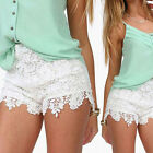 Plus Size Ladies Womens Lace Crochet Shorts Elastic Waist Mini HOT Pants Summer