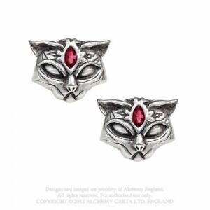 ALCHEMY-ENGLAND-Gothic-Fantasy-Swarovski-Crystal-STUD-EARRINGS-Sacred-Cat-Studs