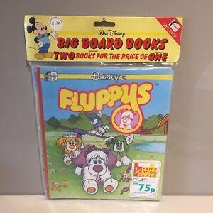 DISNEY VINTAGE Fluppys Fluppy Pups Board x2 LIBRO Dogs NUOVO CON CONFEZIONE RARA! 80s Personaggio