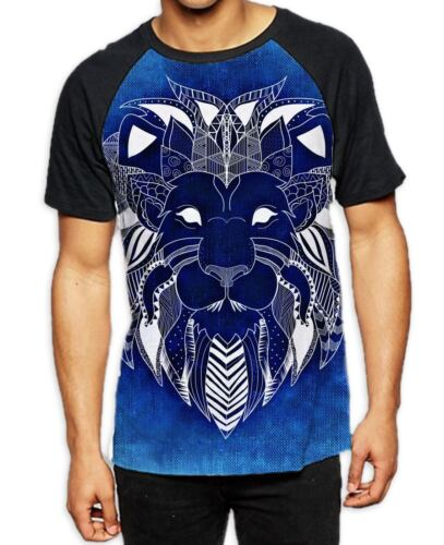 Tribal Lion Face Blue Men/'s All Over Baseball T Shirt Animals Festival Rasta